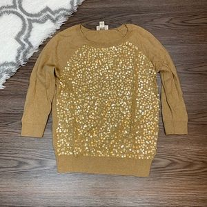 Loft Gold Sequin Sweater Size Small